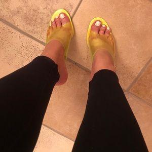 New! Neon Yellow Clear Heels.